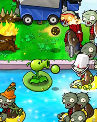 A glimpse to chaos that is when you pit Plants againts Zombies.